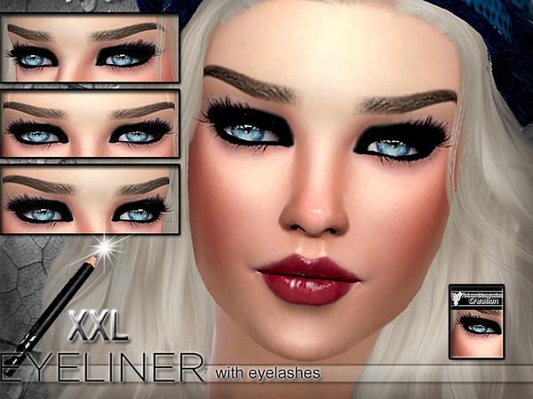 Sims 4 XXL Seductive Eyeliner with eyelashes by Pinkzombiecupcakes at TSR