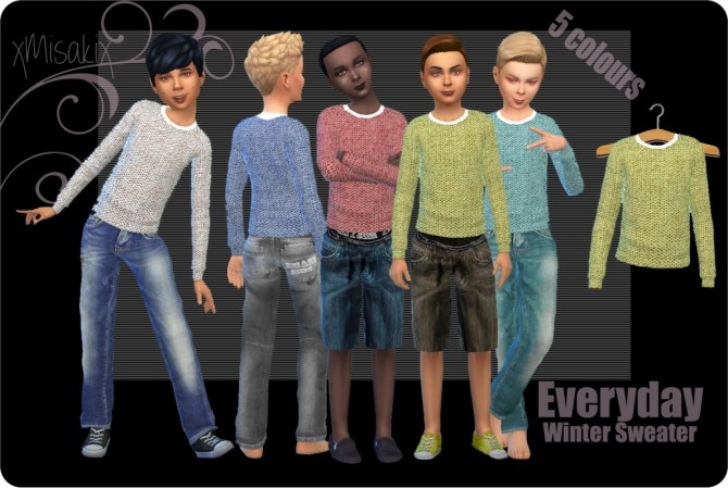 Sims 4 Winter Sweater for Boys at xMisakix Sims