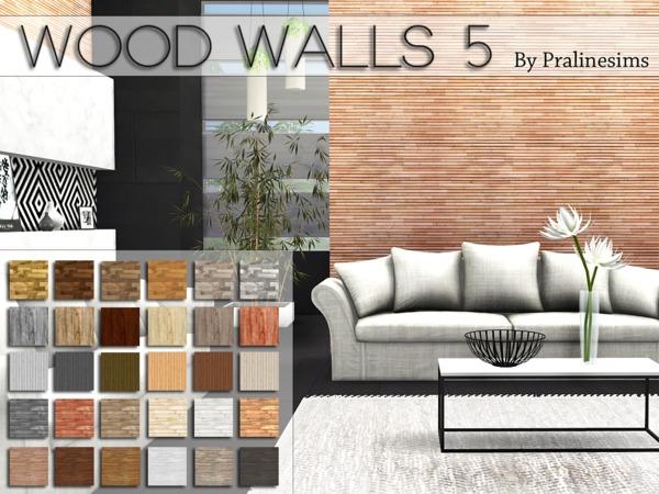 Sims 4 Wood Walls 5 by Pralinesims at TSR
