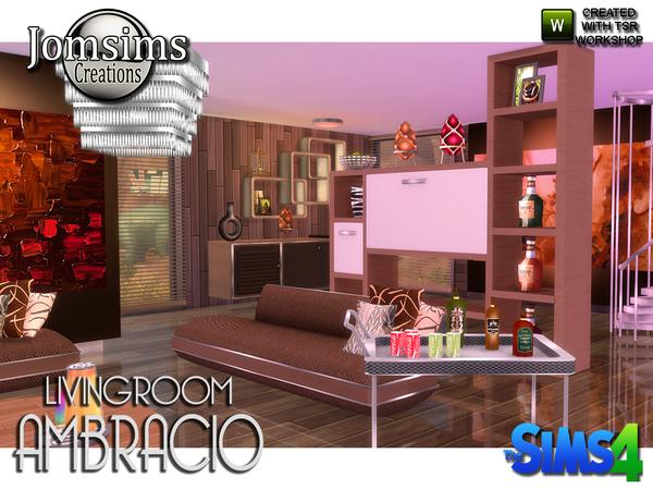 Sims 4 Ambracio Living room by jomsims at TSR