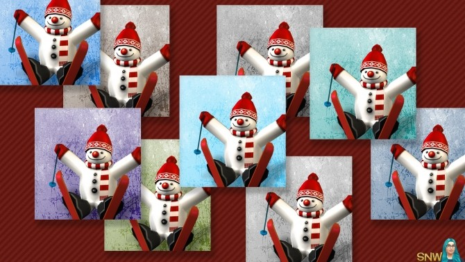Sims 4 Large Snowman Painting #1 at Sims Network – SNW