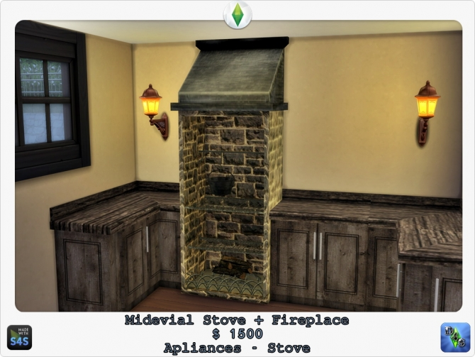 Medieval stove + Fireplace by Design 4 Sims at Sims 4 ...