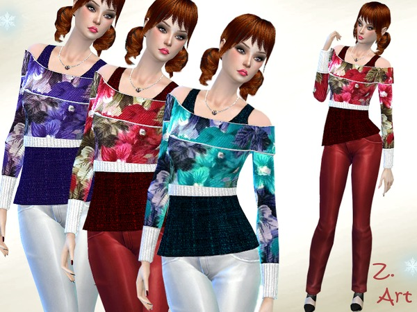 Sims 4 Winter Rose sweater by Zuckerschnute20 at TSR