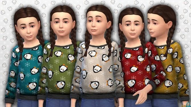 Sims 4 Childrens Penguin Pattern sweater at Sims Network – SNW