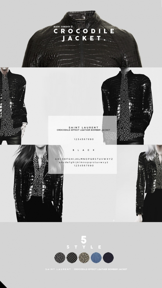 Crocodile Leather Bomber Jacket At Black Le 187 Sims 4 Updates