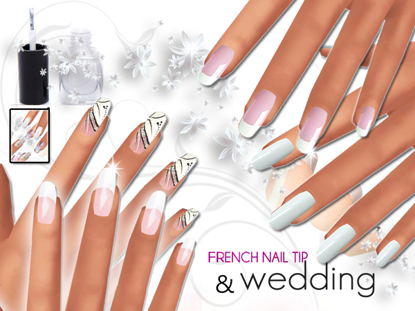 French Manicure and Wedding Nails Pack by Pinkzombiecupcakes at TSR image 11108 Sims 4 Updates