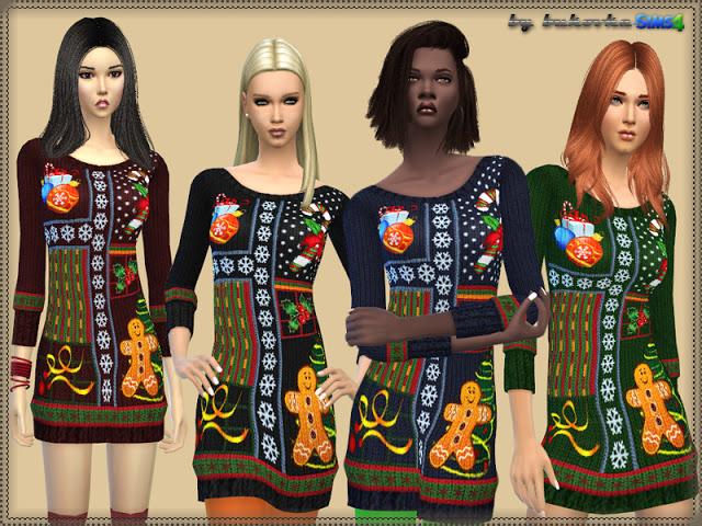 Sims 4 Christmas Dress at Bukovka
