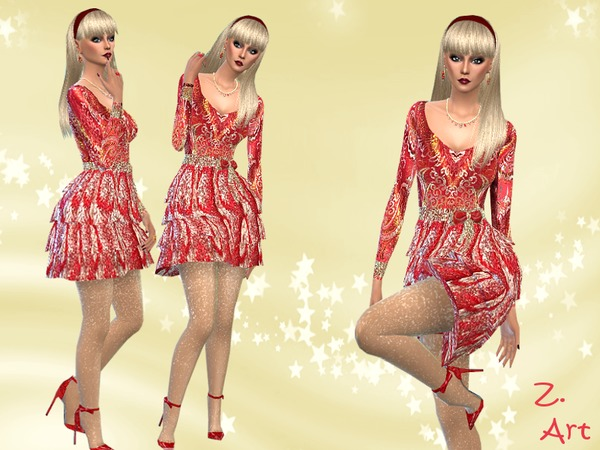 Sims 4 For Xmas IV dress by Zuckerschnute20 at TSR