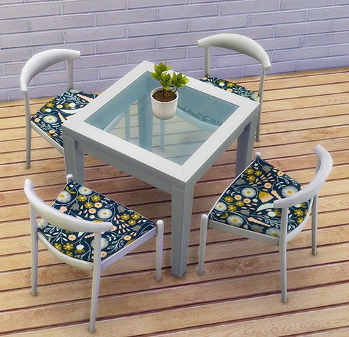Sims 4 Danish Dining Chairs in Geo Cool + Colorfloral at 4 Prez Sims4