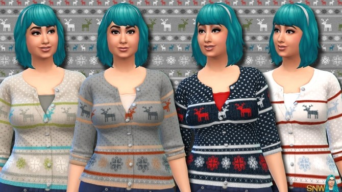 Fair Isle Christmas Cardigans for Women at Sims Network – SNW image 11616 670x377 Sims 4 Updates