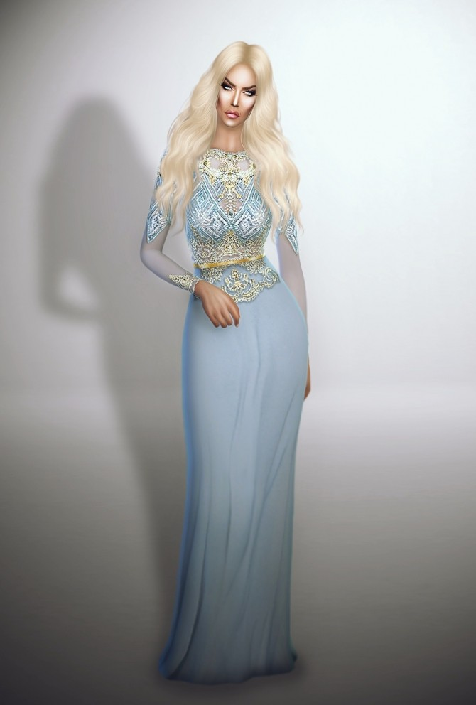 Sims 4 Lightblue Royalty Gown at Fashion Royalty Sims