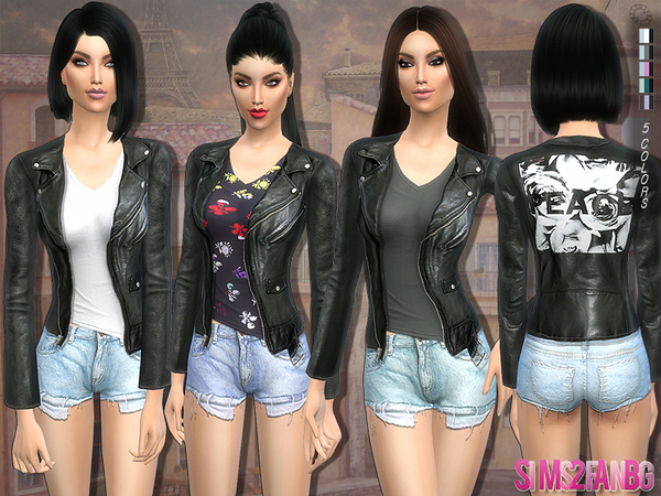 120 Outfit with leather jacket by sims2fanbg at TSR image 12014 Sims 4 Updates