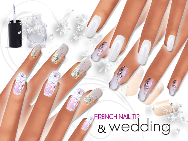 French Manicure and Wedding Nails Pack by Pinkzombiecupcakes at TSR image 12103 Sims 4 Updates