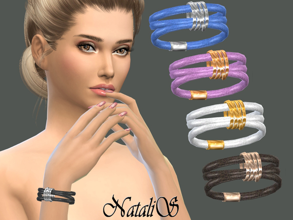 Leather wrap bracelet with rings by NataliS at TSR image 12315 Sims 4 Updates