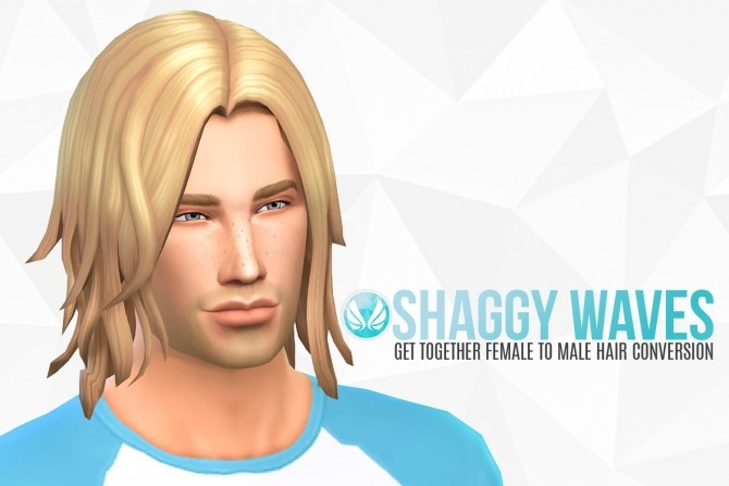 Sims 4 Shaggy Waves GT Female to Male Hair Conversion at Simsational Designs