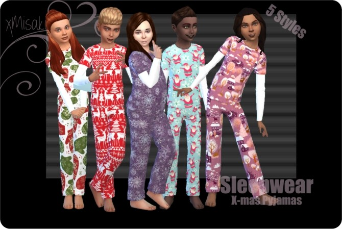 Sims 4 X mas Pyjamas for Girls and Boys at xMisakix Sims