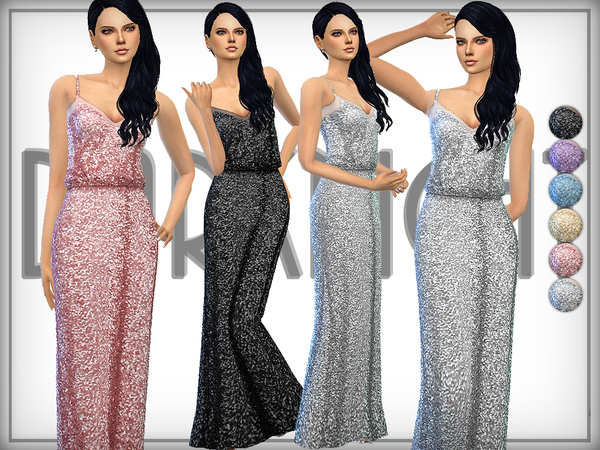 Sims 4 Sequined Tulle Gown by DarkNighTt at TSR