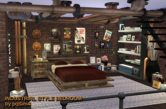 industrial style bedroom at pqsims4 image 1380 670x442 sims 4 updates