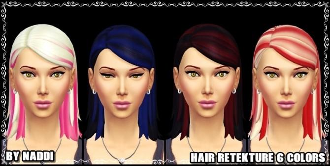 Sims 4 HAIR RETEXTURE ( 6 COLORS ) at Naddi