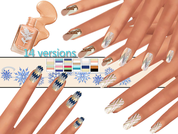 Sims 4 PZC Winter Aztec Nails Pack by Pinkzombiecupcakes at TSR