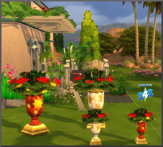 Christmas flowerpots by Christine1000 at Sims Marktplatz image 15310 Sims 4 Updates