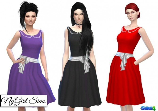 Sims 4 Collared Vintage Swing Dress at NyGirl Sims