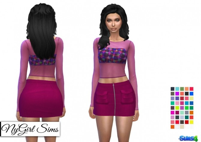 Sims 4 Corduroy Zip Up Skirt with Pockets at NyGirl Sims