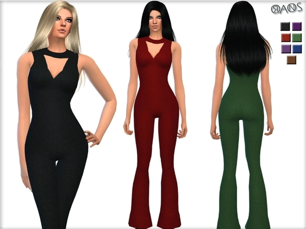 Flare Lurex Jumpsuit By Oranostr At Tsr 187 Sims 4 Updates