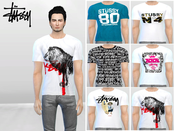 Sims 4 Stussy Crew Tees by McLayneSims at TSR