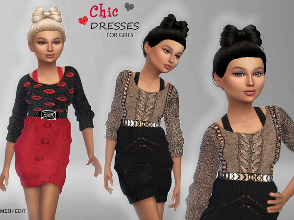 Sims 4 Chic Dresses For Girls by Puresim at TSR