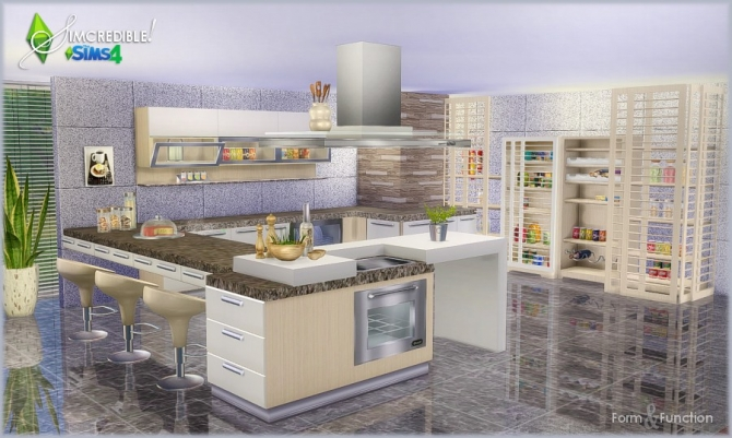 Form and function kitchen donation at simcredible for Sims 4 kitchen designs