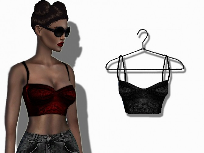 Sims 4 ROSY LEATHER TOP at Cleotopia