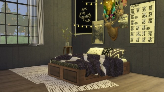 Sims 4 Basic Wooden Double Bed Frame at Ooh la la