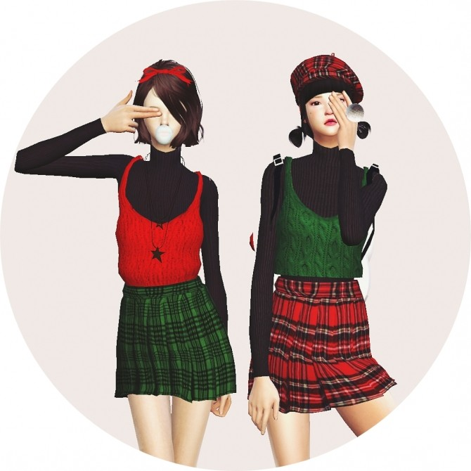 Sims 4 Bustier with pleats skirt one piece at Marigold