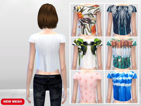 Sims 4 Hanging Crop Top Tees by McLayneSims at TSR