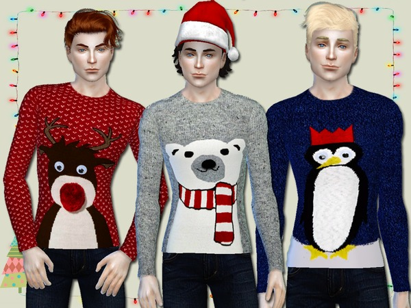 Sims 4 Christmas Jumpers for Him by Simlark at TSR