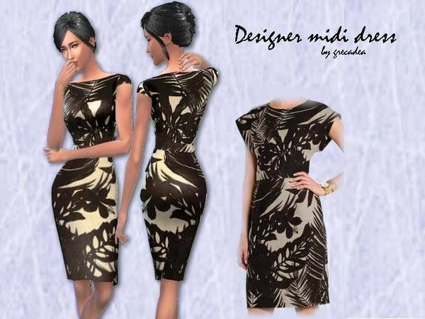 Sims 4 JCrew midi dress by grecadea at TSR