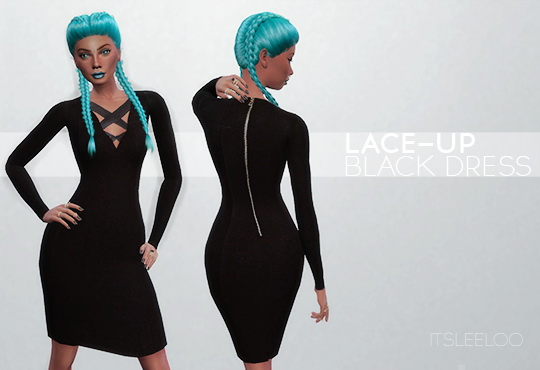 Sims 4 LACE UP BLACK DRESS at Leeloo