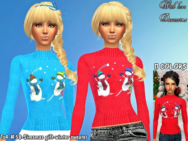 Sims 4 Simsmas gift winter sweater by Daweesims at TSR