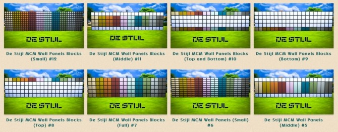 Sims 4 De Stijl walls by Rosana at Sims Network – SNW