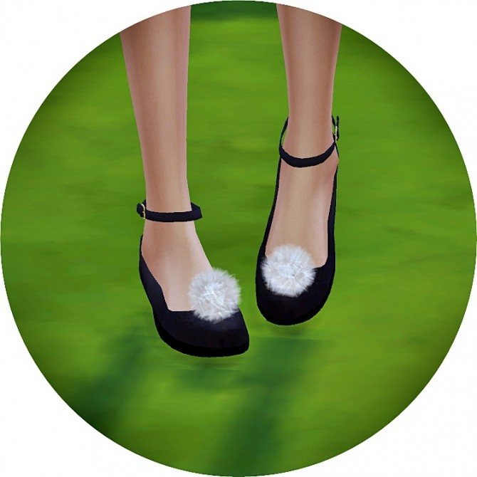 Sims 4 Pompom ankle strap flat shoes at Marigold