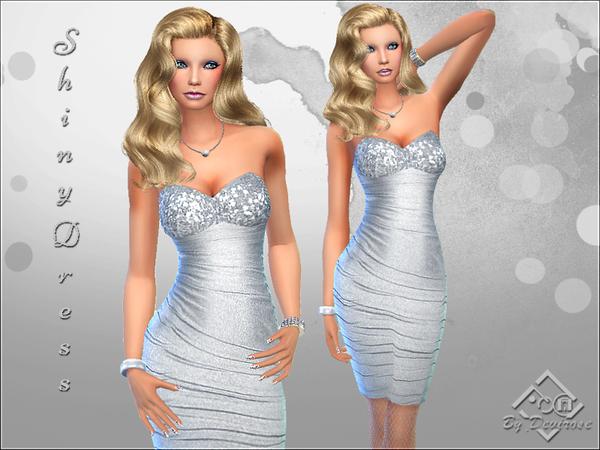 Sims 4 Shiny Dress by Devirose at TSR
