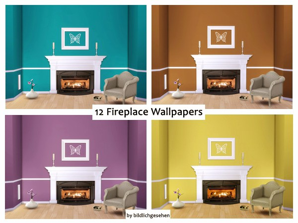 Sims 4 12 fireplace wallpapers at Akisima