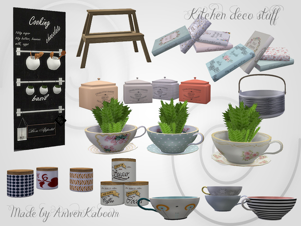Sims 4 Kitchen Deco Stuff by ArwenKaboom at TSR