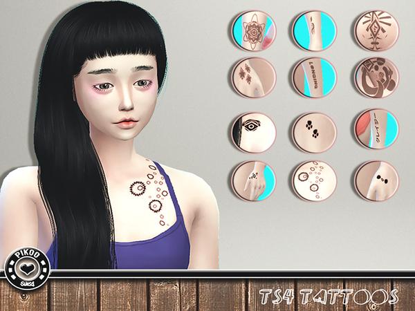 Sims 4 Tattoos 01 by Pikoo at TSR