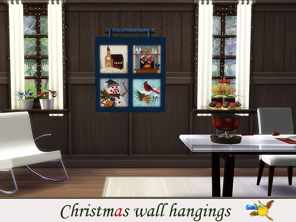 Sims 4 Christmas Wall Hangings by Evi at TSR