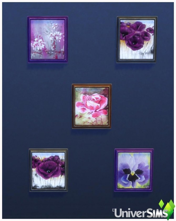 Sims 4 Purple flower paintings by Bouckie at L'UniverSims