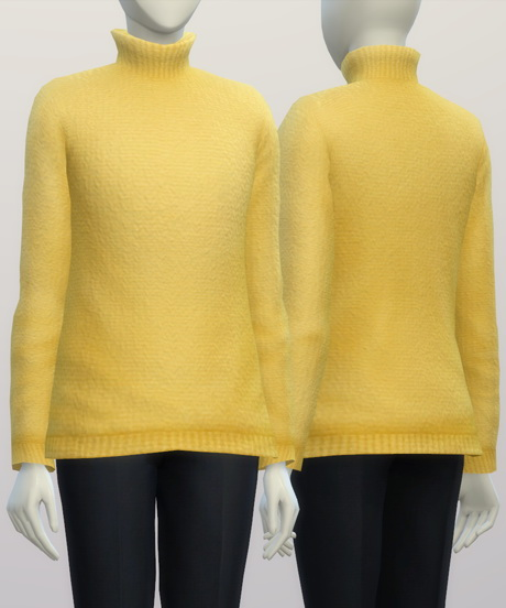 Turtleneck sweater F solid (16 colors) at Rusty Nail image 313 Sims 4 Updates