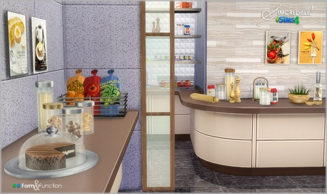 Form function kitchen decor at simcredible designs 4 for Kitchen ideas sims 4