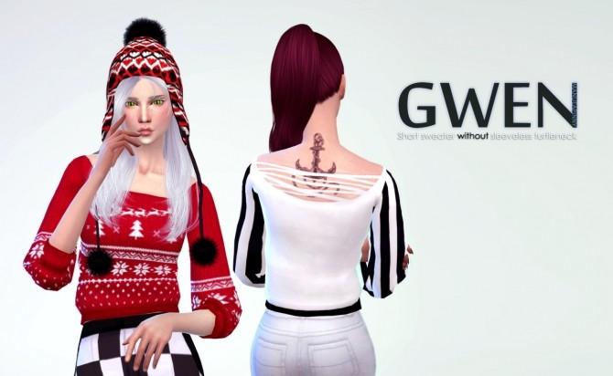 Sims 4 Gwen short sweater at manuea Pinny